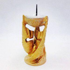 Unikatni ročno izrezljani leseni svečnik